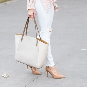 BP colorblock light gray and cream tote bag